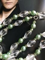 VINTAGE ART DECO CLEAR GLASS GREEN FAUX PEARLS FLAPPER NECKLACE