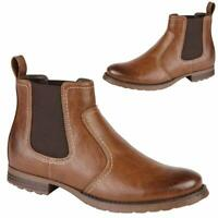 MENS CHELSEA BOOTS NEW DEALER ANKLE SMART CASUAL FORMAL FAUX LEATHER WORK SHOES