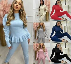 Womens Ladies Frill Peplum Puff Fine Ribbed Two Piece Lounge Wear Jog Tracksuit