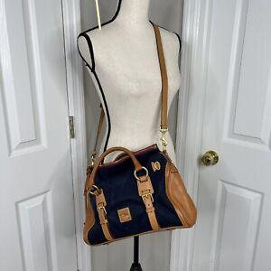 Donkey & Bourke Nubuck jones bag crossbody satchel purse bag Blue tan New