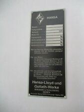 Nameplate Hansa Lloyd GOLIATH
