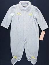NWT First Impressions Infant Girl's Pale Blue Floral Velour Sleeper, 0-3 Mos.