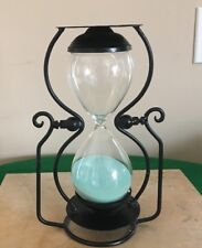 "Vintage 30 Minute Hourglass. Sand, Blown Glass And Ironwork 10+"" Tall"