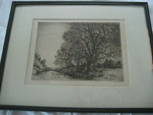 Antique signed framed etching by Ulysses Anthony Ricci ( 1888-1960)