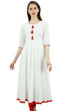 ethnische weiß kurti abgefackelt Anarkali kurta Kleid mit tassele-6