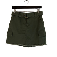 Mudd Cargo Mini Frayed Skirt Green Size 5