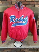 Vintage Rebels #4 Softball Baseball Team Satin Snap Jacket Mens Size Medium Red