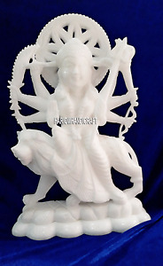 "8"" Beautiful Goddess Durga Sitting on Lion Marble Religious Sculpture Arts H4240"