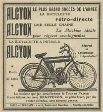 Y7612 La bicyclette a Pétrole ALCYON - Pubblicità d'epoca - 1908 Old advertising