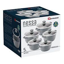 Sq Professional Granite Die Cast Non-stick Cooking/Casserole Pot 5 Pcs Set