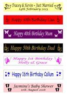 Personalised 21st 30th 40th 50th 60th Birthday Celebration Cake Ribbon 25mm x 1m
