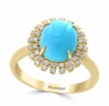 NEW!  EFFY TURQUOISE & DIAMOND COCKTAIL RING/ SIZE 7/ $1,925
