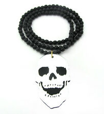 """WOODEN MIRROR PUNK SKULL PENDANT PIECE & 36"""" CHAIN BEAD NECKLACE GOOD WOOD STYLE"""