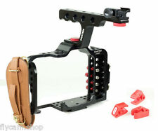 Hunt DSLR Rig Cage For Sony A7 A7r A7S Camera W/ Top Handle Grip Leather Strap
