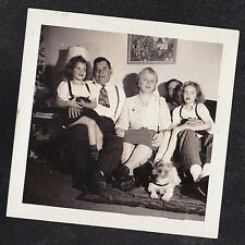Vintage Antique Photograph Group of People Sitting in Retro Room w/ Puppy Dog