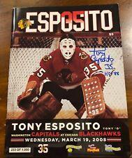 Rare Chicago Blackhawks Tony Esposito 3-19-08 Game Program Signed Photo Proof