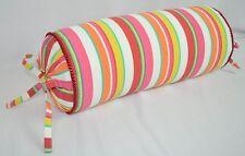 Corded Bolster Pillow made w Ralph Lauren Beachside Preppy Stripe Cotton Fabric