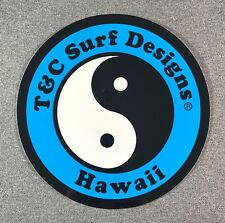 "T&C Town & Country Surf Designs Hawaii Sticker 6.5"" LARGE Authentic T&C Blue"