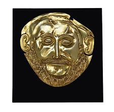 Mask of Agamemnon Gold Plated sculpture - Mycenaean King Funerary Mask Replica