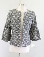 NWT Kasper Black White Diamond Print Bell Sleeve Open Front Blazer Jacket Size 4