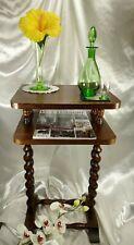 French English Barley Twist Plant Table Side Oak Pedestal End Stand