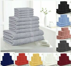 10 Piece Bathroom Bath TOWELS Face Hand Sheets Soft Egyptian Cotton Gift Sets