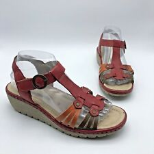 Remonte Women Red Orange Brown Leather Sandal Shoe Size 8.5M EUR 39 Pre Owned