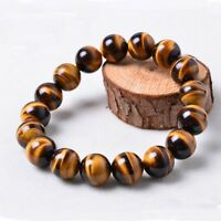Handmade 8mm Natural Tiger's Eye Stone Round Beads Bracelet Unisex Jewelry