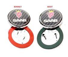 2x SAAB Carbon Fiber Bonnet Boot Trunk Set 2 Badge 93 95 9-3 9-5 Replacement