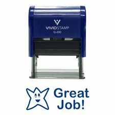 Vivid Stamp Self Inking GREAT JOB blue Rubber Stamp Office School Accounting E4