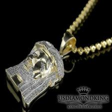 Genuine Diamond Real 10k Yellow Gold Jesus Mini Charm+Sterling Silver Chain Neck