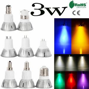 Dimmable LED Spot Light Bulb Colorful GU10 MR16 E27 E14 B22 B15 3W 230V 12V Lamp