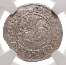 "POLAND. Sigismund I ""The Old"", Silver 1/2 Groschen, 1509, Lithuania, NGC AU50"