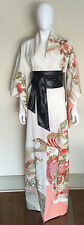 Vintage Off White Floral Hi Low Kimono Dress Gown Costume Cosplay One Size