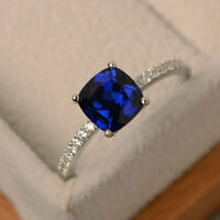 1.55 Ct Cushion Blue Sapphire Engagement Ring 14K White Gold Diamond Size L M N