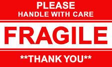 ツ 50 X PLEASE HANDLE WITH CARE FRAGILE THANK YOU LABEL STICKERS