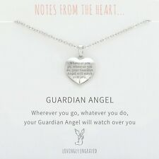 Silver Guardian Angel Heart Engraved Pendant Necklace Sentiment + Gift Bag