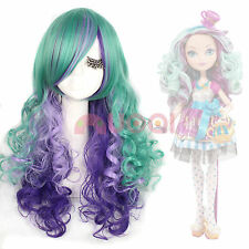 USA Ship Ever After High Madeline Hatte Long Wavy Curly Mixed Color Cosplay Wig