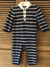Janie And Jack Sweater Fair Isle One Piece Outfit Navy 12-18 M Navy White Stripe