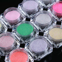 Nail Art Holographic Sugar Glitter Powder Dust Sandy Nail Pigment Dust 12 Colors