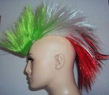Irokesen Hairskin Perücke grün weiss rot Italien z.B. für Fussball Länderspiele