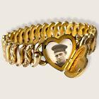 Vintage Gold Filled Navy LOCKET With PHOTO Sweetheart Expansion Stretch Bracelet
