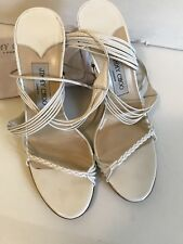Jimmy Choo White Ankle Strap Wedge Heels Size 8 1/2