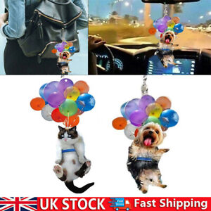 Flying Cat Pet Dog Hanging Ornament With Colorful Balloon Car Interior Pendant ~