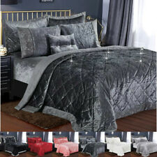 Crushed Velvet Quilted Bedspread Comforter Bed Throw Bedding Set & Pillow Cases