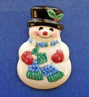 Hallmark PIN Christmas Vintage SNOWMAN Ceramic Red Mittens Scarf Top Hat Holiday