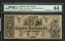 $5.00 New Orleans Canal & Banking Company – PMG Choice Uncirculated 64