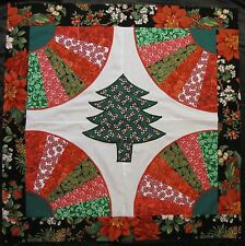 "Appliqued Fan Quilt Top~PIECED~PATCHWORK~""Christmas Tree 3""~Baby,Wall, Lap 35"""