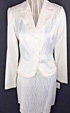 Ruby Rox Women Skirt Suit size 3 White Blazer Peplum Wave Pattern