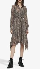 All Saints LIZZY PATCH Dress In Camel Brown. Size S